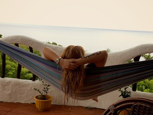 hamac sur un balcon cosy